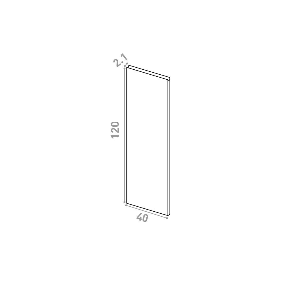 Porte 40X120cm | design U shape | noyer naturel
