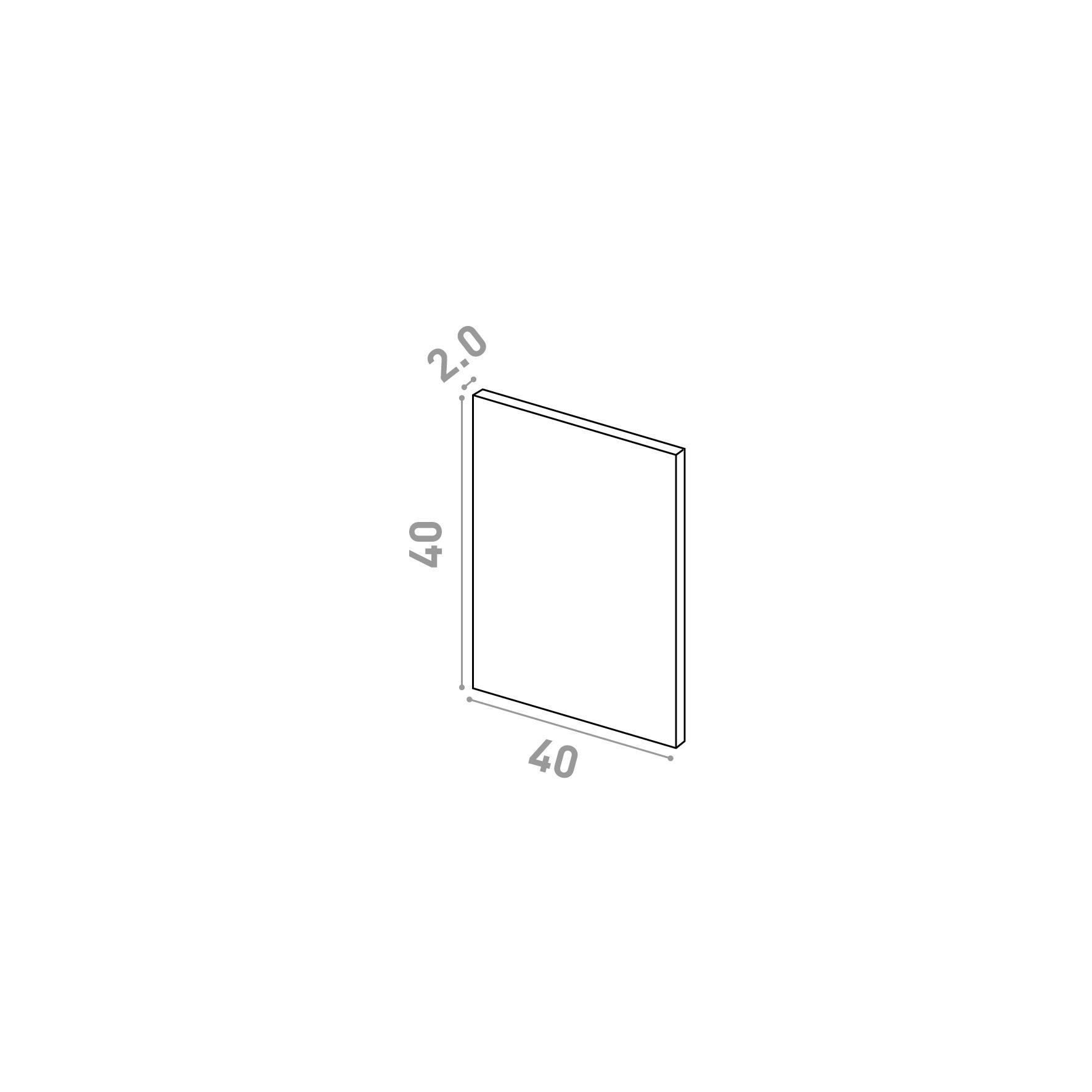 Porte 40X40cm   design lisse   chêne naturel