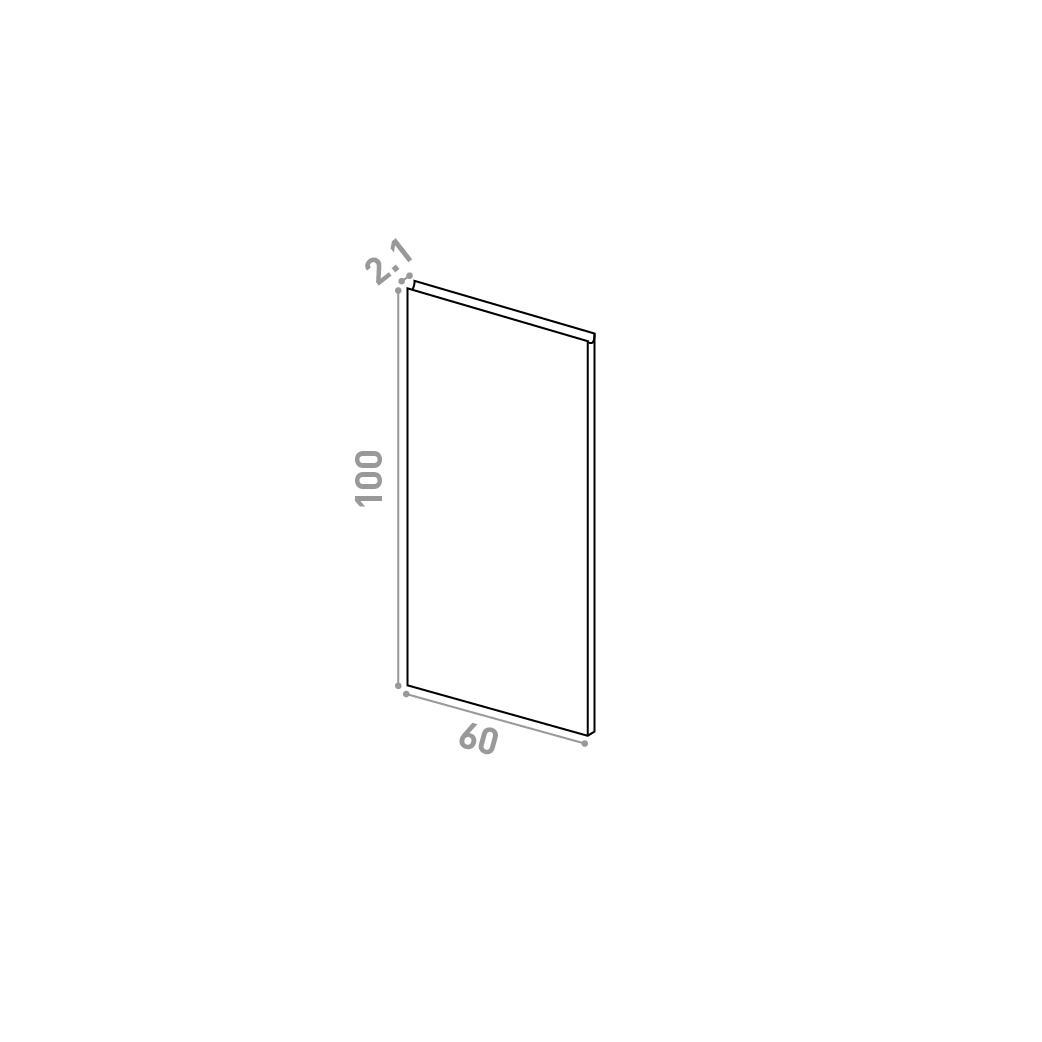 Porte 60X100cm | design U shape | noyer naturel