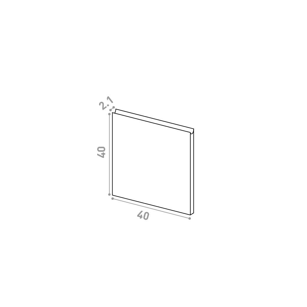 Tiroir 40X40cm | design U shape | noyer naturel