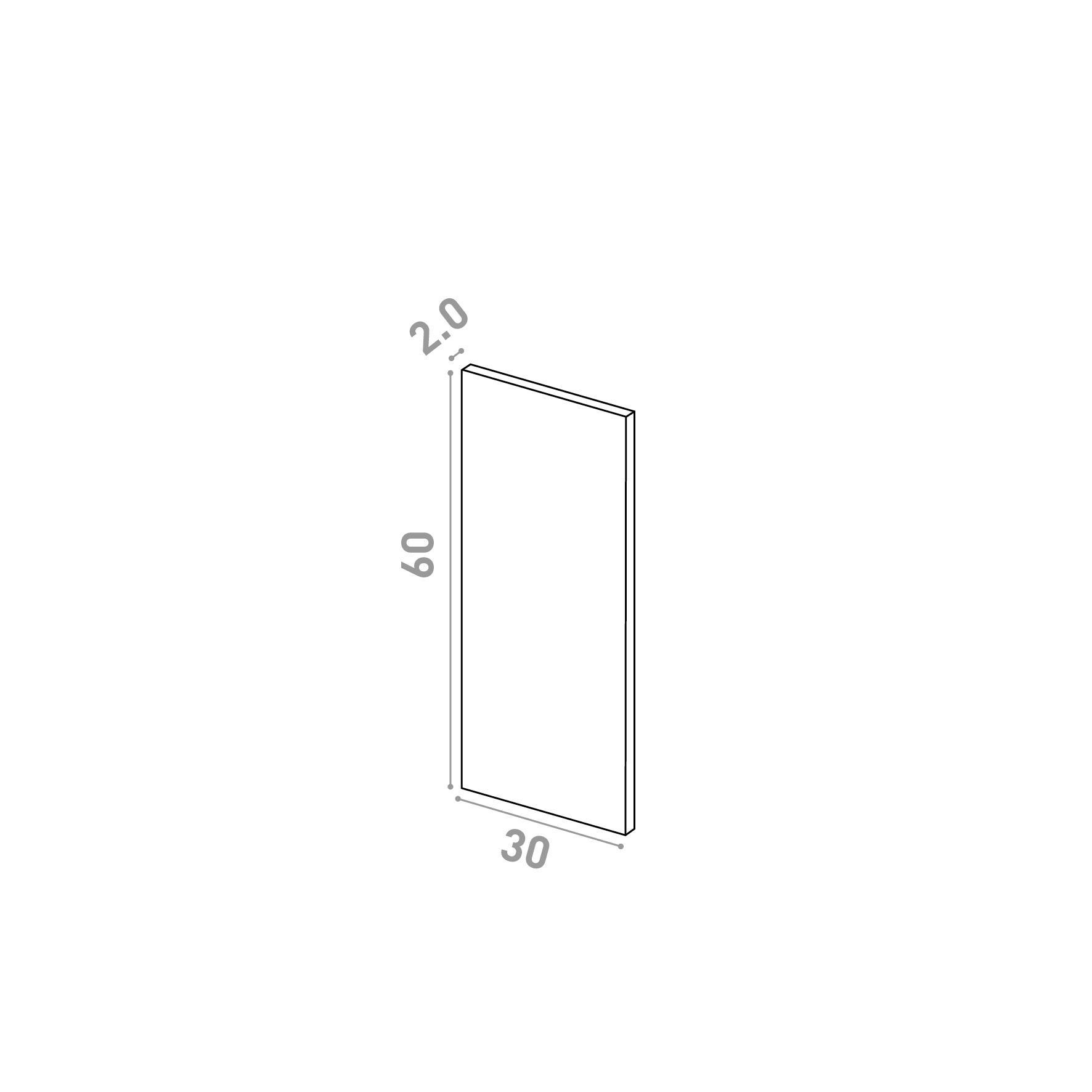 Porte 30X60cm   design lisse   chêne naturel
