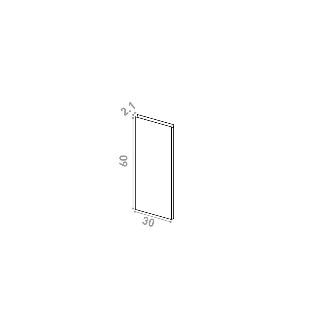 Porte 30X60cm | design U shape | chêne naturel