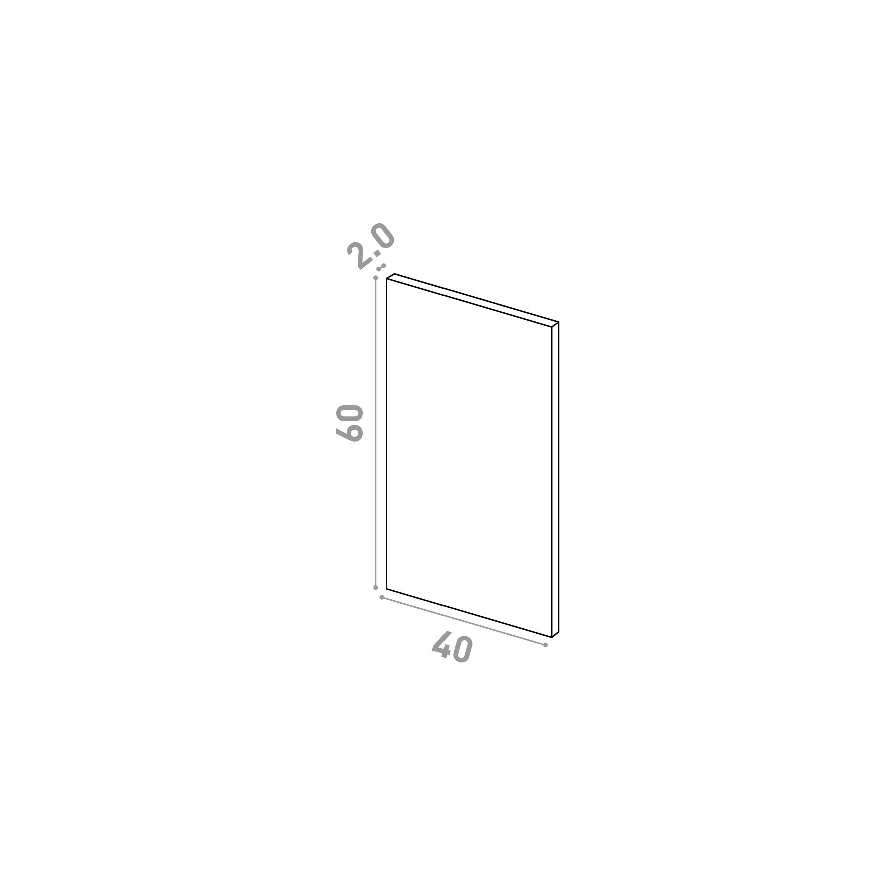 Porte 40X60cm   design lisse   chêne naturel