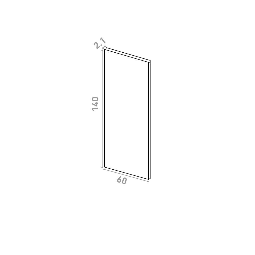 Porte 60X140cm | design U shape | noyer naturel
