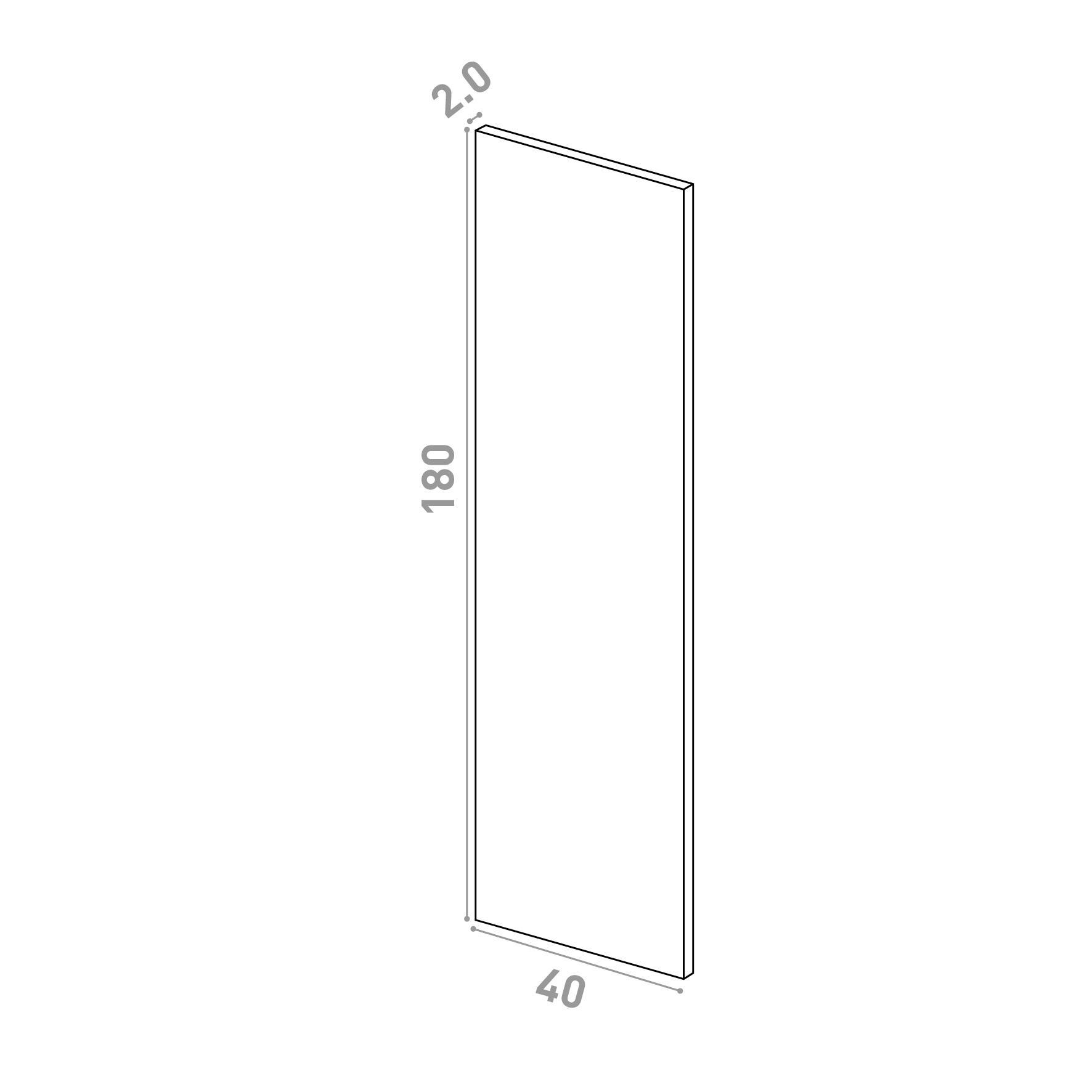 Porte 40x180cm   design lisse   chêne naturel