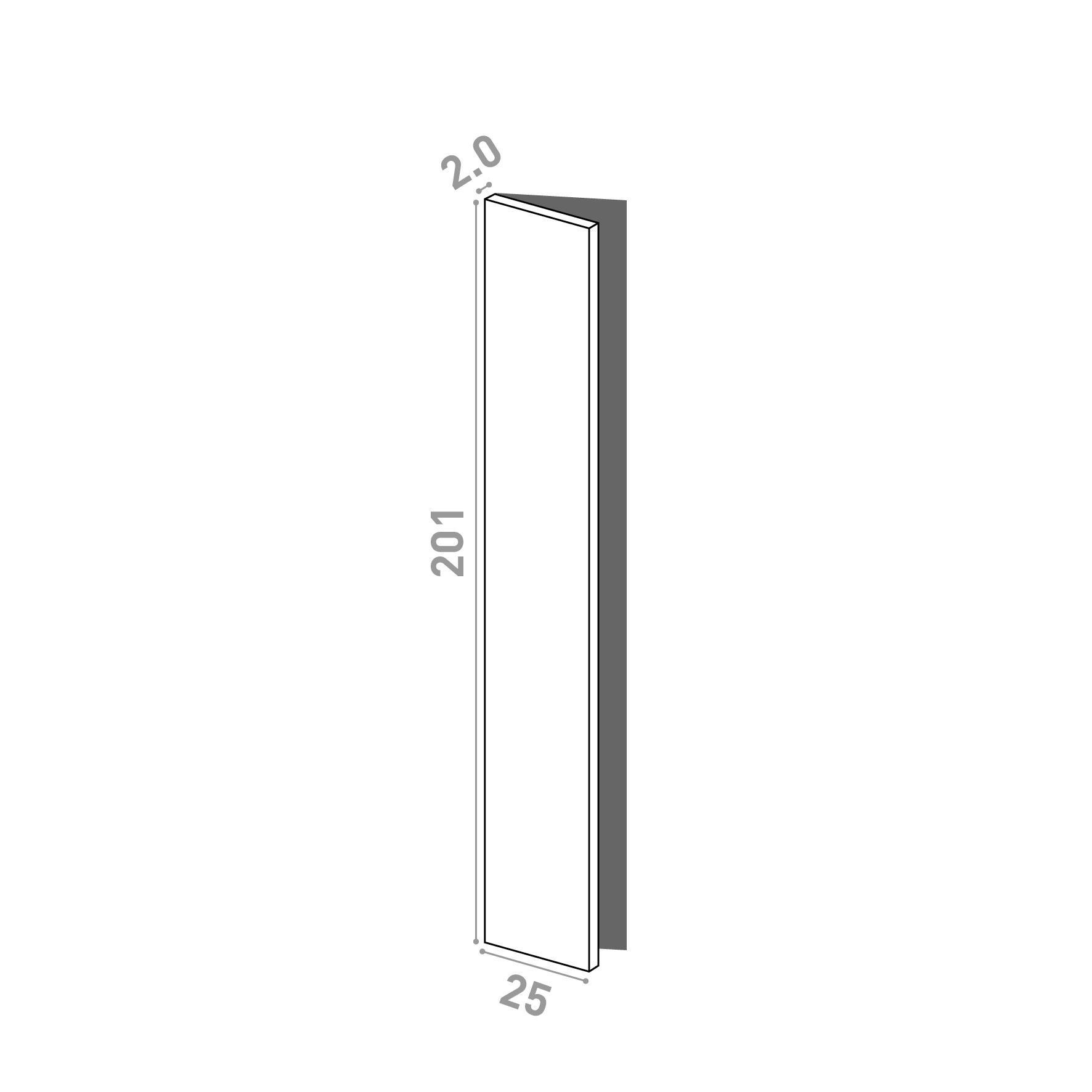Porte 25x201cm - charnières à gauche | design lisse | noyer naturel