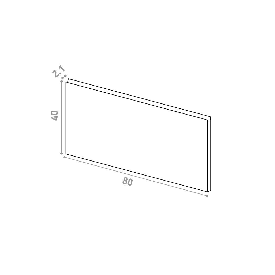 Tiroir 80X40cm | design U shape | chêne naturel