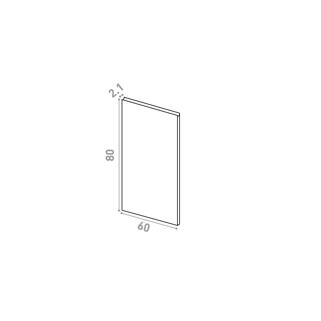 Porte 60X80cm | design U shape | noyer naturel