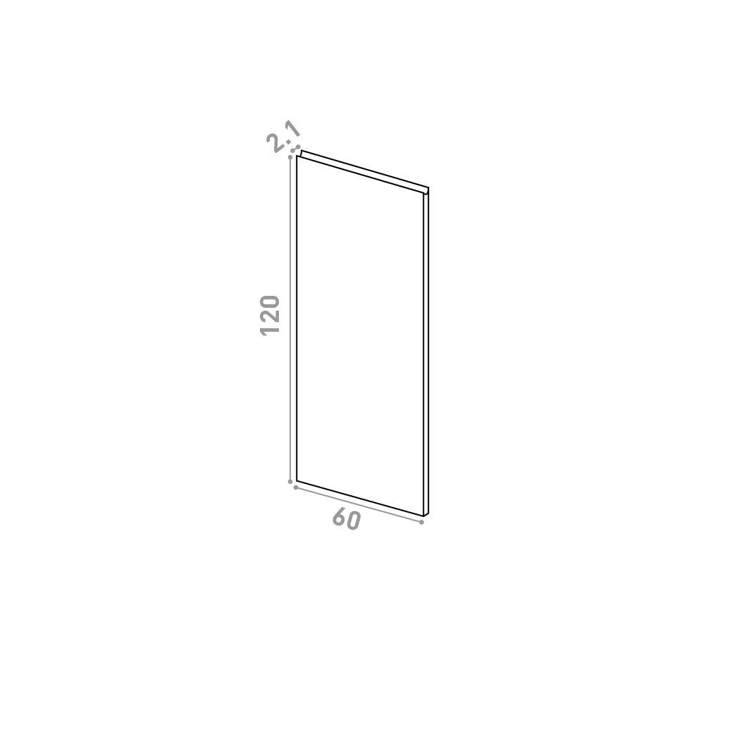 Porte 60X120cm | design U shape | noyer naturel