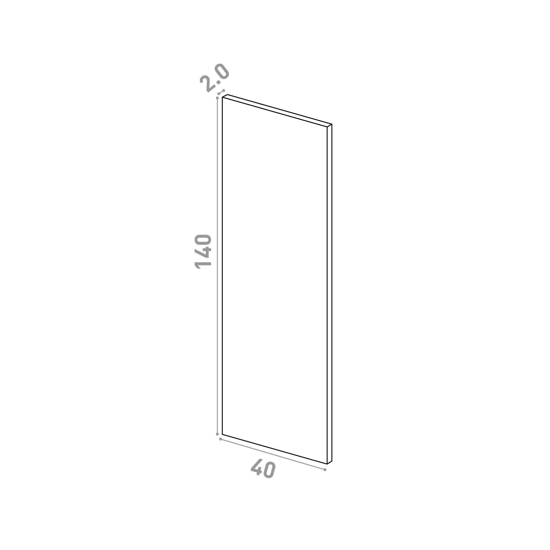 Porte 40X140cm   design lisse   chêne naturel