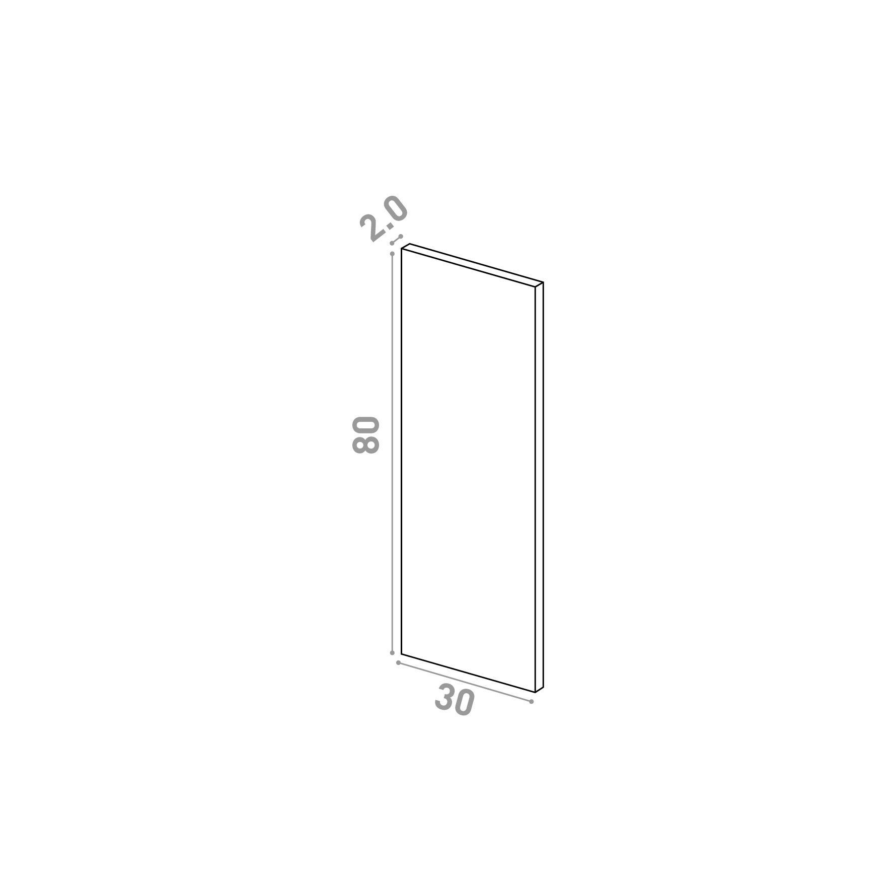 Porte 30X80cm   design lisse   chêne naturel