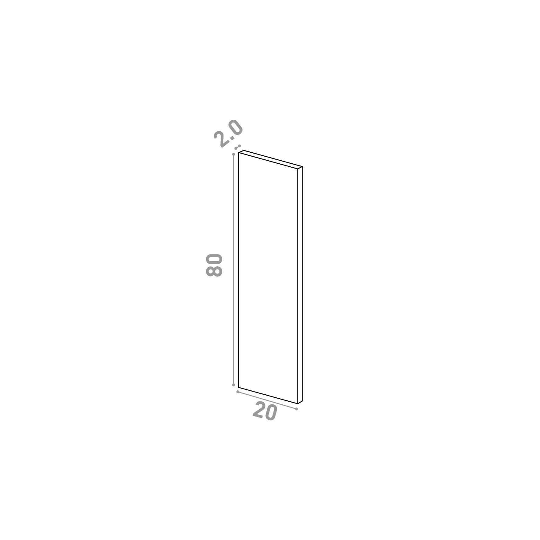 Porte 20X80cm   design lisse   chêne naturel