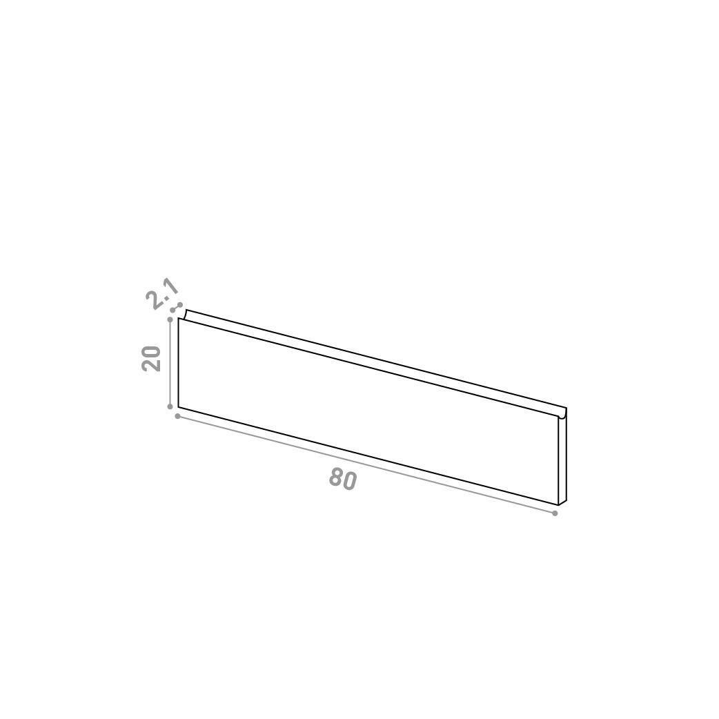 Tiroir 80X20cm | design U shape | noyer naturel