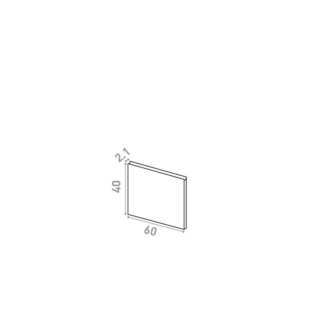 Porte 60X40cm | design U shape | noyer naturel