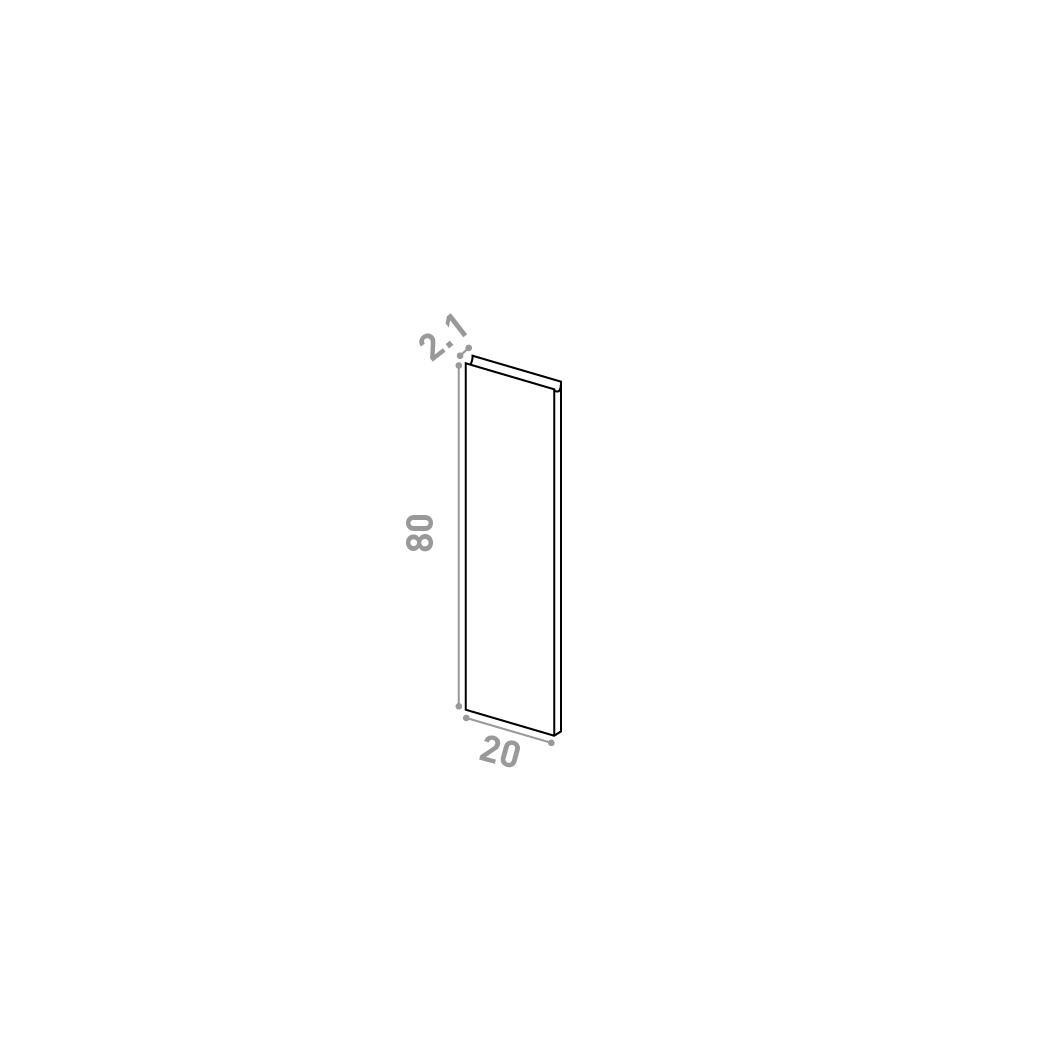 Porte 20X80cm | design U shape | chêne naturel