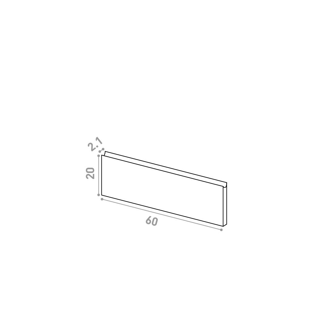 Tiroir 60X20cm | design U shape | noyer naturel