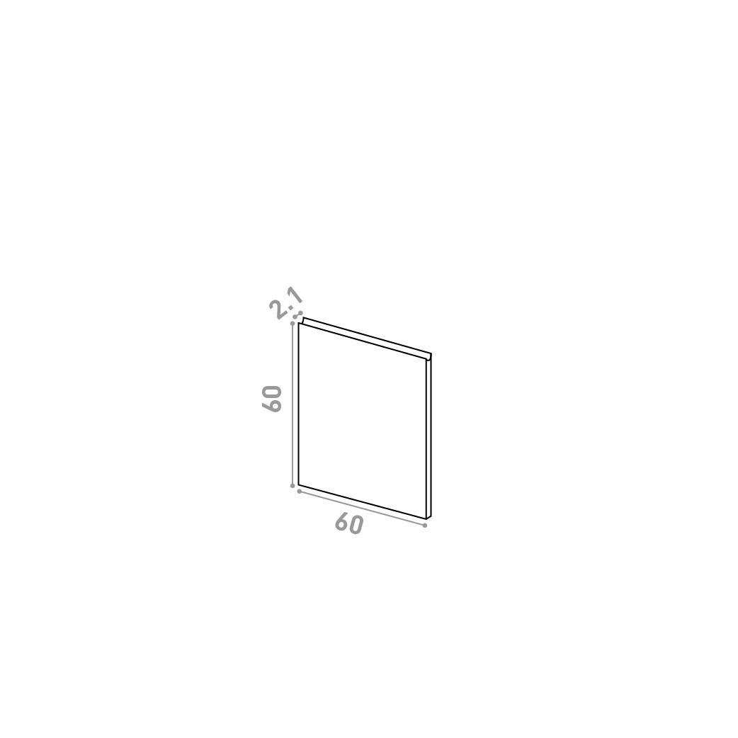Porte 60X60cm | design U shape | noyer naturel