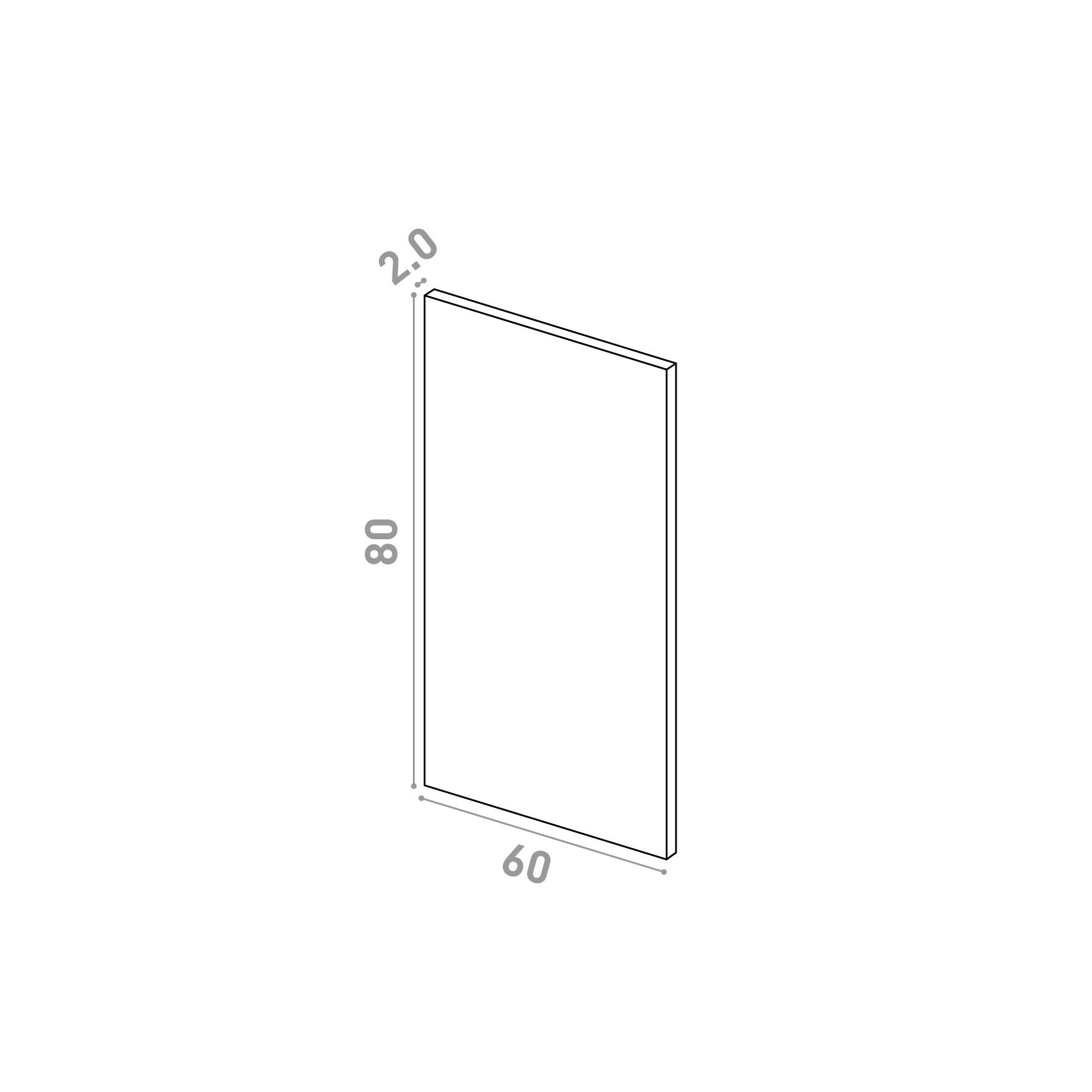 Porte 60X80cm   design lisse   chêne naturel