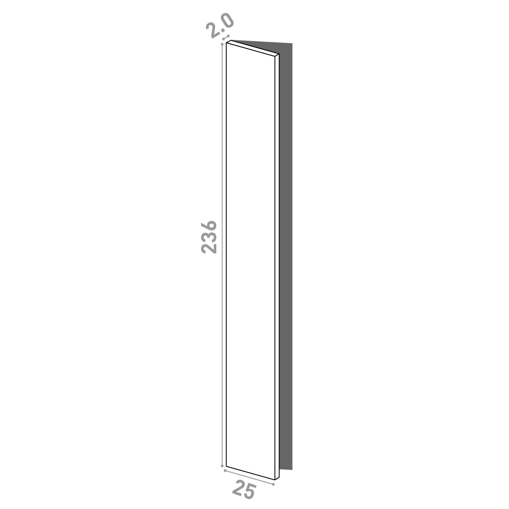 Porte 25x236cm - charnières à gauche | design lisse | noyer naturel
