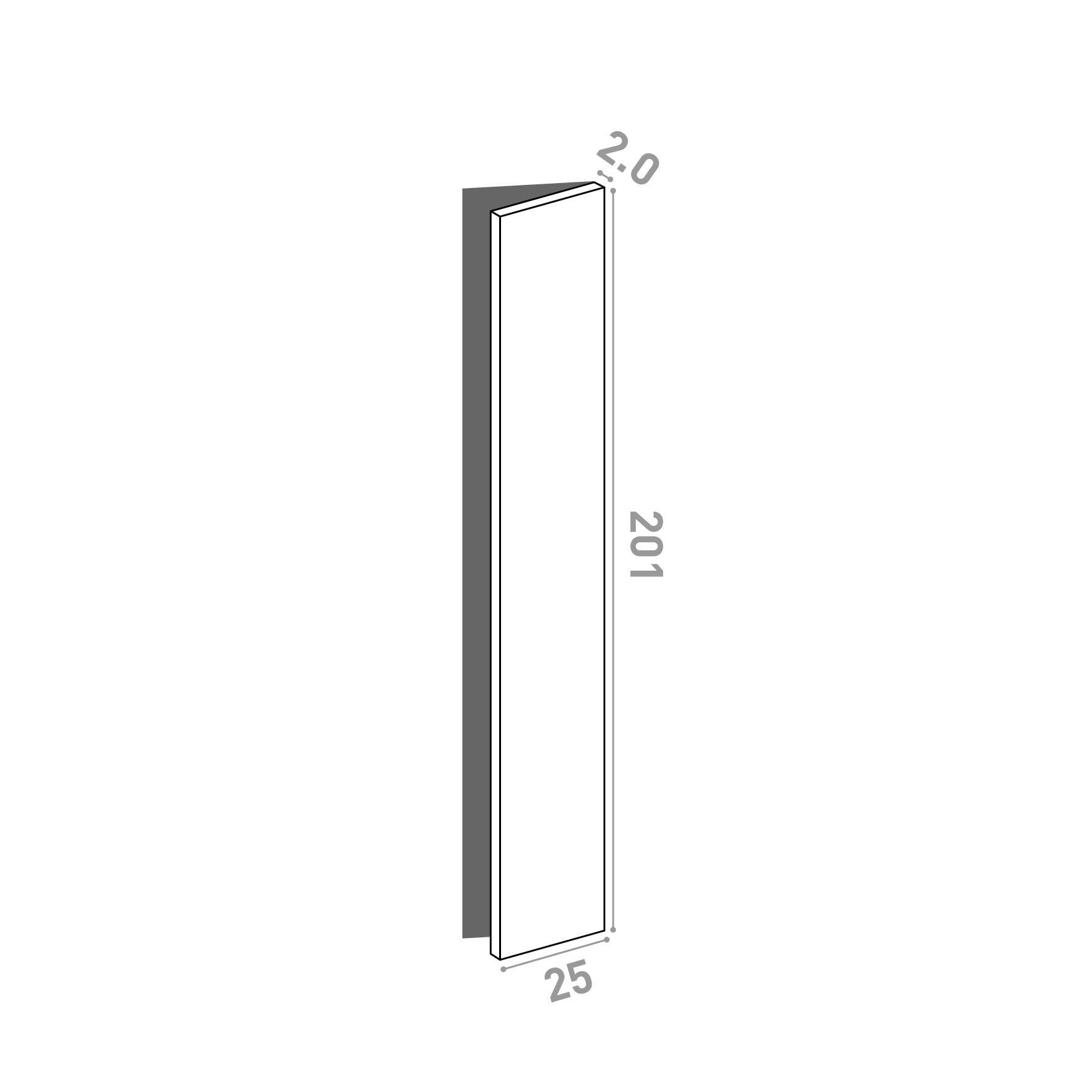 Porte 25x201cm - charnières à droite | design lisse | noyer naturel