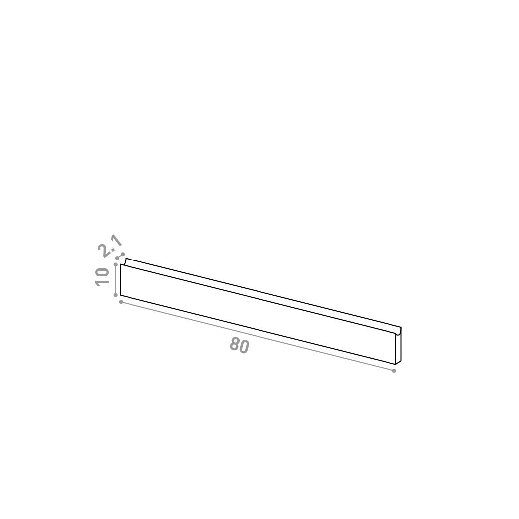 Tiroir 80X10cm | design U shape | noyer naturel