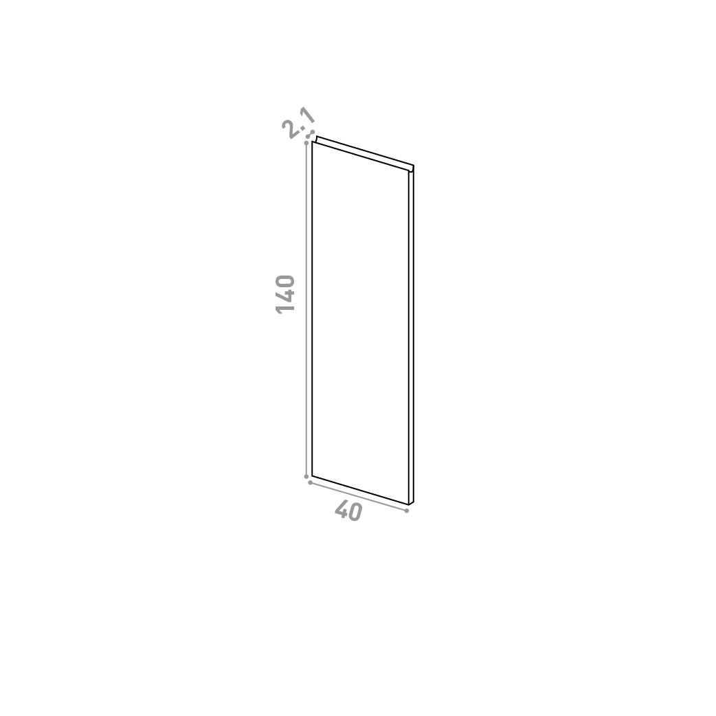 Porte 40X140cm | design U shape | chêne naturel