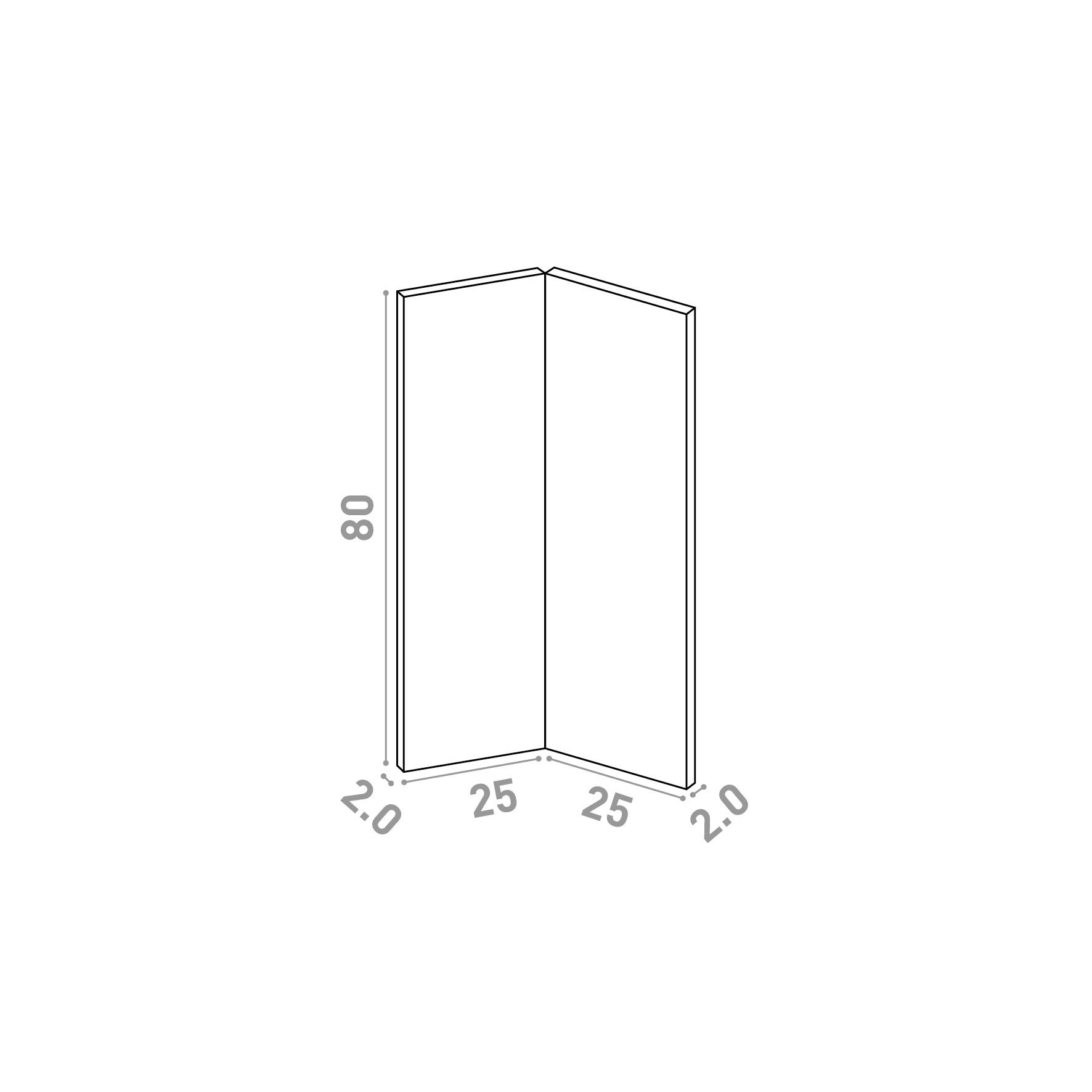Porte d'angle 25x80cm   design lisse   chêne naturel