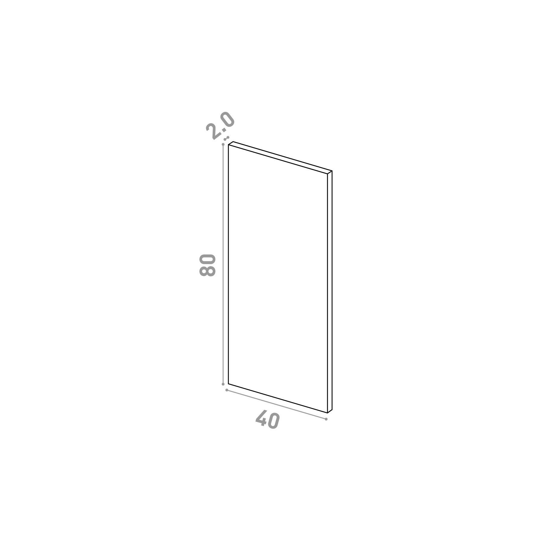 Porte 40X80cm   design lisse   chêne naturel