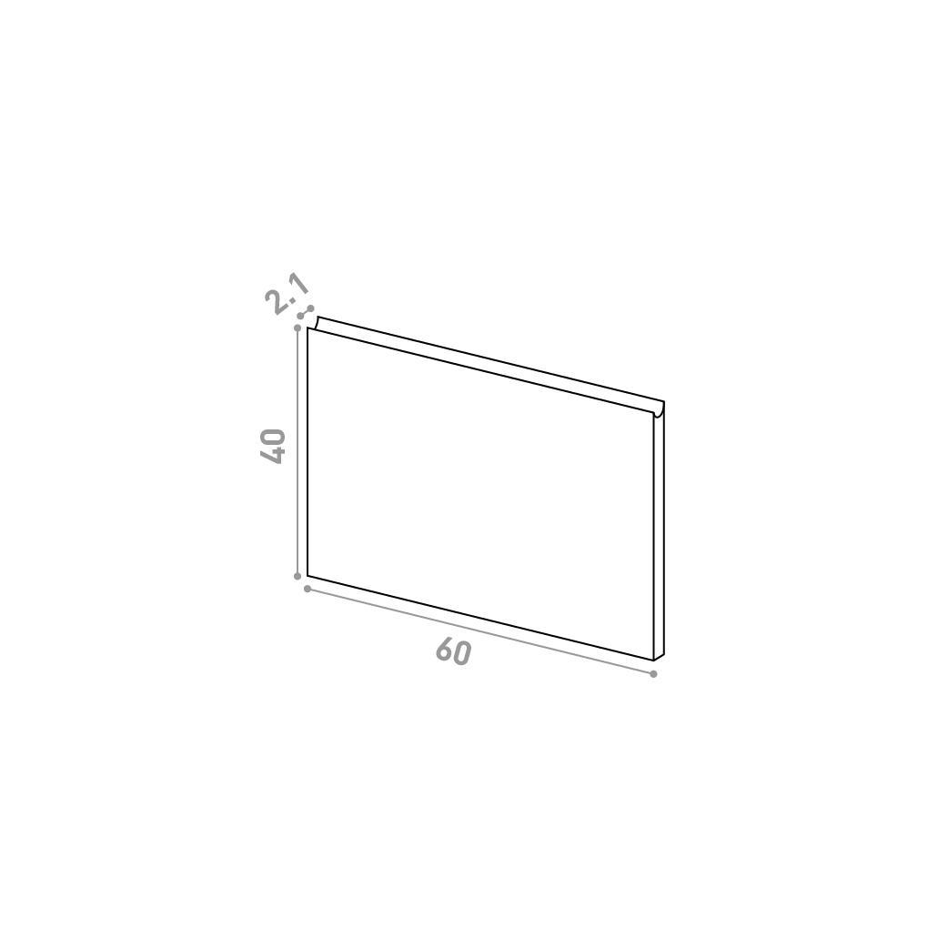 Tiroir 60X40cm | design U shape | noyer naturel