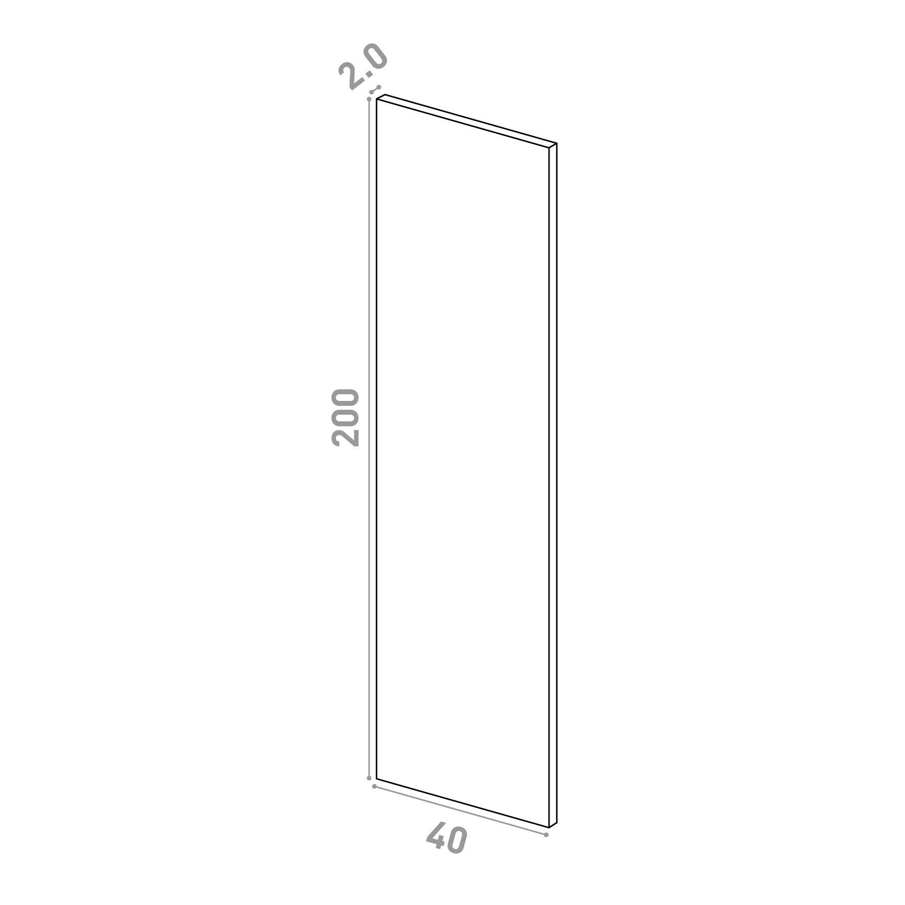 Porte 40X200cm   design lisse   chêne naturel